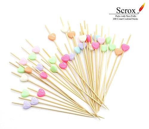 Scrox - handgefertigte Cocktail-Sticks/Holz-Zahnstocher, für Häppchen, Tapas, Sandwich, Canapes, Vorspeisen; Herz, 100 Stück, (Stil 4) (Herz Holz-stick)