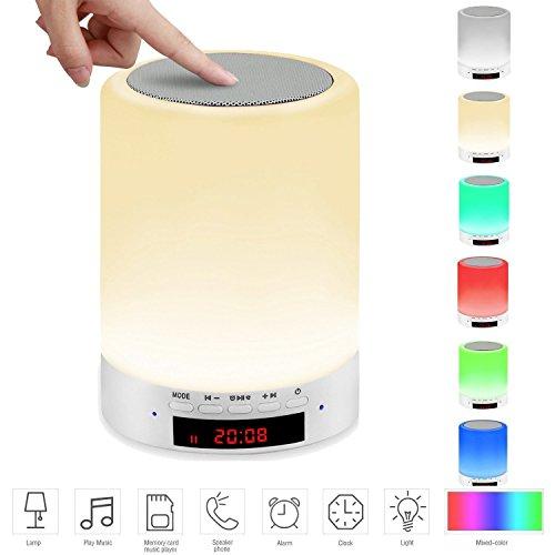 LED Bluetooth Lautsprecher, Motionjoy Tragbare Drahtlose Lautsprecher - LED Nachttischlampe, Nachtlicht, Touch Control Farbe, Wecker, Support TF Karte für Smartphones und Alle Audio-Enabled Geräte