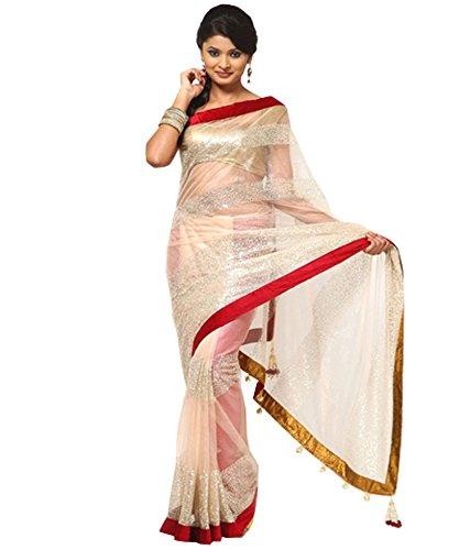Muta Fashions Net Saree (Muta256_01_Off-White)