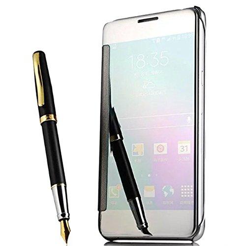 PANXIYUE Coque Huawei P9 Lite Flip Cover Un étui Miroir Dormant Sommeil Intelligent Coloris Argent Etui Housse Bumper