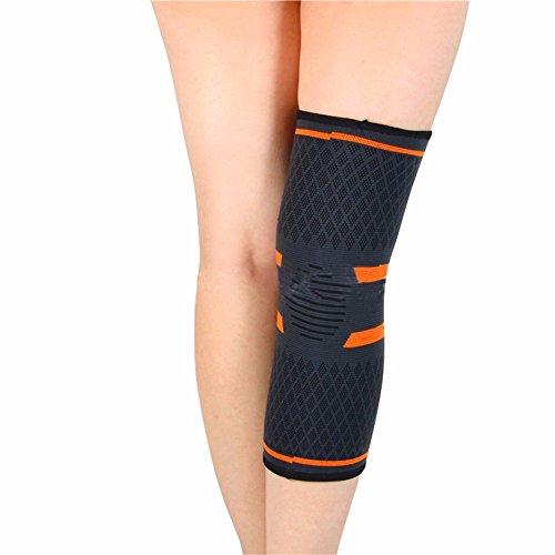 Iiniim One Piece nylon ginocchia maniche gamba tutore per esercizi fitness palestra powerlifting, unisex, Black&Orange, S