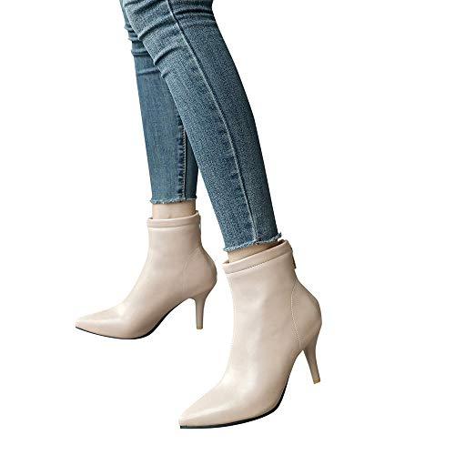 TianWlio Stiefel Frauen Herbst Winter Schuhe Stiefeletten Boots Spitze Zehen Schuhe Seitlicher Reißverschluss Hoher Absatz Kurze Plüsch Mode Stiefeletten Beige 39