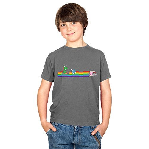 TEXLAB - Cat Kart Rainbow - Kinder T-Shirt, Größe S, grau