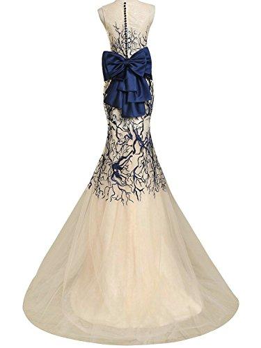 JAEDEN Elegante Sirena Abito da ballo Cravatta di arco Lungo Tulle Ricamo Abito da sposa Abito da festa Champagne