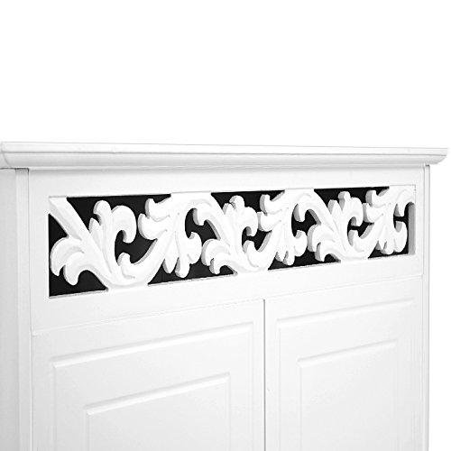 Deuba Kommode weiß Jersey Landhaus Stil mit 2 Türen, Einlegeboden, 76 x 65 x 35cm - Sideboard Schrank Anrichte Mehrzweckschrank Holz Antik - 3