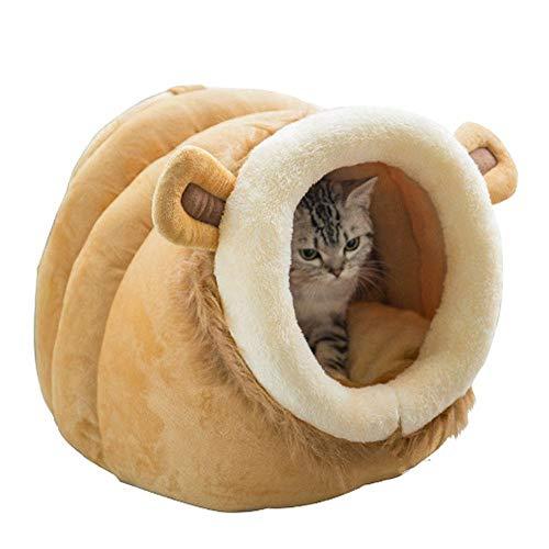 Leegoal Katzenbett, Luxus Katzenhöhle Bett/höhle für Haustier Katzen und Kleine Hunde, Schöne Tierform, Waschbar, Weich und Warm Plüsch Schlafsack Katzensofa (Größe: Klein, Mittel, Groß) -