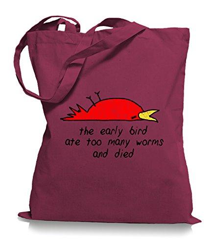 Ma2ca® The Early Bird Died - Jutebeutel Stoffbeutel Tragetasche / Bag WM101 Cranberry