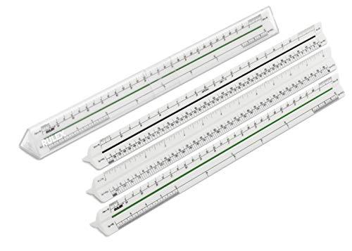 Rulex Englisch Imperial 30cm Dreikant Maßstab Lineal 3/32 inch, 3/16 inch=1 foot & inches x 1/16, 1/8 inch, 1/4 inch & 1/2 inch, 1 inch= 1 foot, 3/8 inch, 3/4 inch, 1 1/2 inch, 3 inch=1 foot