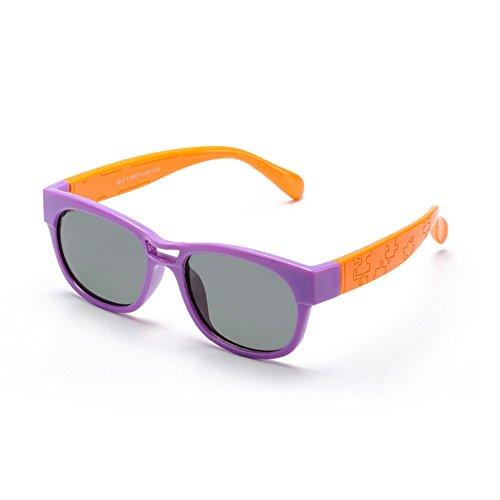 Y-WEIFENG Jungen und Mädchen Flexible Polarized Sonnenbrillen mit Etui UV-Schutz für Kinder von 3 bis 10 Jahren (Farbe : Lila)