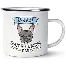Beware Crazy bulldog francés Muñeco Retro esmaltado Taza