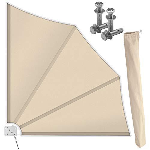 Kesser® Balkonfächer klappbar mit Wandhalterung | 140x140cm | Sichtschutz Balkon Windschutz | Balkonsichtschutz | Seitenmarkise | witterungsbeständig | inkl. Montagematerial | Beige