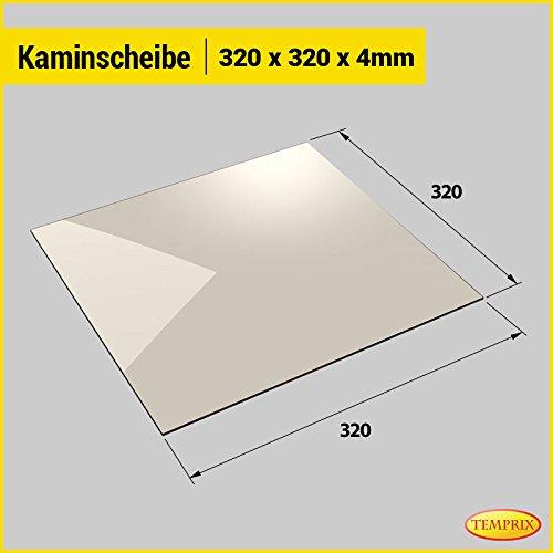 Kaminglas und Ofenglas 320 x 320 x 4 mm | Temperaturbeständig bis 800° C | » Wunschmaße auf Anfrage « | Markenqualität in Erstausrüsterqualität