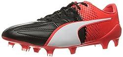PUMA Mens Evospeed 1. 5 Lth Fg Soccer Shoe, Puma Black/Puma White, 8. 5 M US