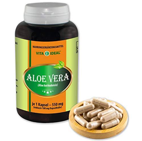 VITA IDEAL ® Aloe-Vera-Extrakt (Aloe barbadensis) 180 Kapseln je 550mg, rein natürliches Aloe-Vera-Extrakt, ohne Zusatzstoffe
