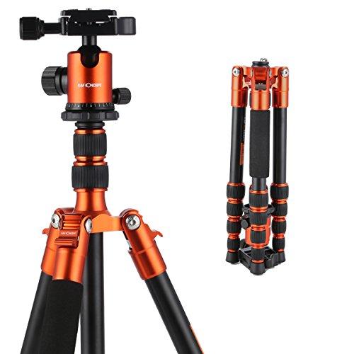 K&F Concept TM2235 Treppiede Reflex da Viaggio Alluminio Pieghevole Compatto 129cm Testa a Sfera 5 Sezioni per Canon Nikon Sony DSLR Arancio
