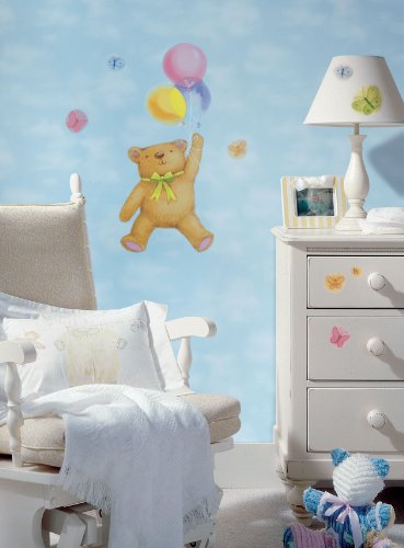 RoomMates Repositionable Childrens Wall Stickers - Teddy Bear and Balloon