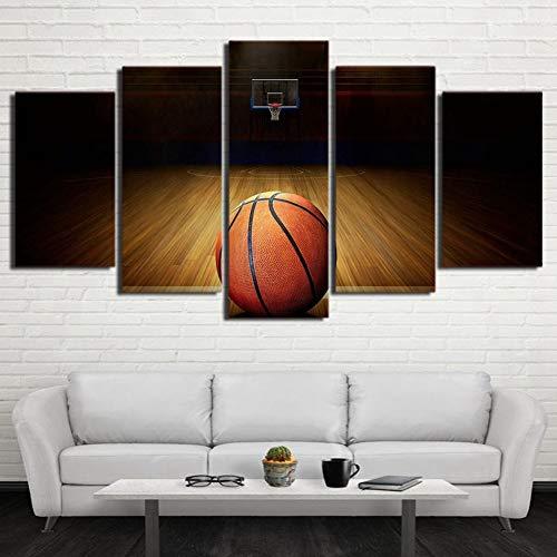 QFQH HD Imprime Cuadros Modernos Carteles de Lona 5 Piezas Curso de Baloncesto Pinturas para la Sala de Estar Inicio Arte de la Pared Gimnasio decoración Marco, tamaño pequeño,Small Size
