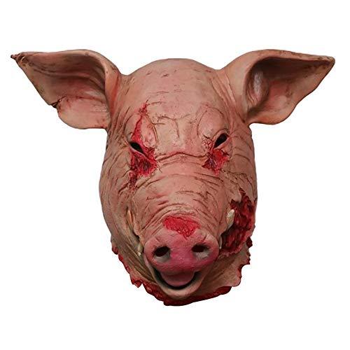 (Contever Horror Bloody Pig Gesichtsmaske, Latex Tierkopf Maske Halloween Kostüm Dekoration)