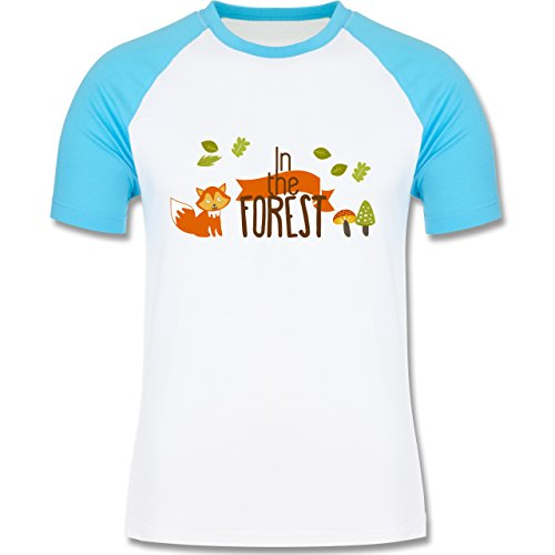 Shirtracer Wildnis - in The Forest Wald Fuchs - Herren Baseball Shirt Weiß/Türkis