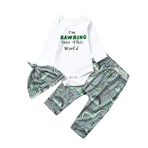 LEXUPE Neugeborene Kleidung 3 Stück Kleinkind Baby Junge Mädchen Kleider Set Lange Hülse Kapuzenpullover Tops Streifen Hose Stirnband Outfits(B-Grün,70)