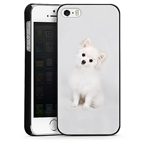 Apple iPhone 5 Housse étui coque protection Chien Chiot Chien CasDur noir