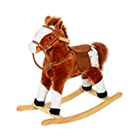 HOMCOM Children Child Kids Plush Rocking Horse with Sound Handle Grip Traditional Toy Fun Gift
