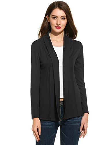 Damen Strickjacke Basic Jacke Strickmantel Cardigan Herbst Winter Offene Feinstrickjacke Classic Langarm Kragenlos Outwear in 7 Farben (Basic Jersey-jacke)