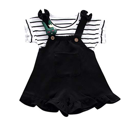 LEXUPE Kleinkind Baby Kind Mädchen gestreiftes ärmelloses Hemd + Hosenträger Shorts Outfits Set(Schwarz,90/M) - Schwarz Gestreiften Shorts