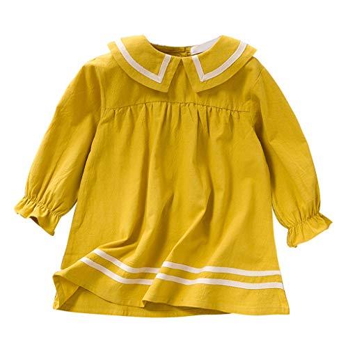 Deloito Baby Kleidung Kinder Mädchen Gestreift Gedruckt Rüschen Kleid Baumwolle Knielang Partykleid Grundschüler Freizeit Langarm Prinzessin Kleider (Gelb,140/7-8 T) -