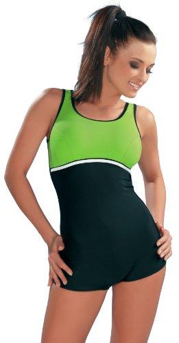 GWinner Damen Badeanzug Maryla, schwarz/grün, 40, 111601011110-40
