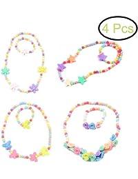 TOYMYTOY Collar de 6 piezas de color caramelo y pulsera Conjunto de joyería de niños encantador para niños (colores)