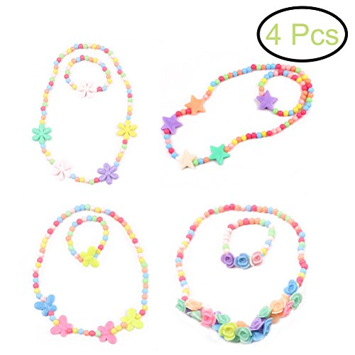 TOYMYTOY Baby Girl Jewellery Set Necklace and Bracelet Kit 6PCS (Candy Color)