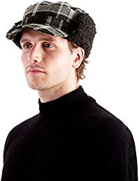 RJM Mens Trapper Hat with Peak + Fleece Trim; available in Grey Check or Blue Check