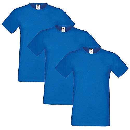 Fruit of the Loom Herren Sofspun Pack of 3 T-Shirt Blau - Königsblau