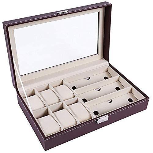 MEIDEL Leder Uhren Aufbewahrungsbox Uhrengehäuse Schmuck Display Organizer for 6 Uhren & 3 Sonnenbrillen Brillen (Color : Brown)