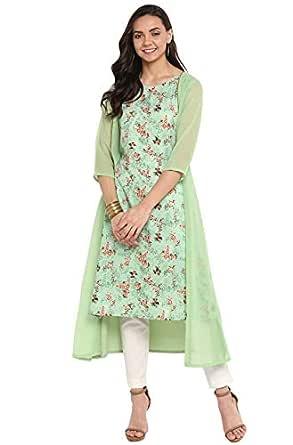 Janasya Women's Green Crepe Kurta (X-Small)