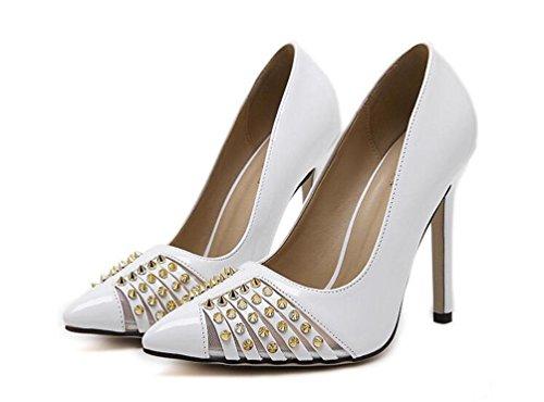 Arbeit Schuhe Pumps Scarpin Neue Revit Dekoration PU Sommer Frauen Peep Toe Schuhe EU Größe 35-40 White