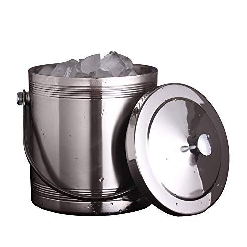 IC&EO Wein Eiseimer,isolierter Doppelstöckiger Sektkühler Stainless Stee Party Getränke Eimer Eiswürfelbehälter Mit Deckel-1.4l 14x18cm(6x7inch) -