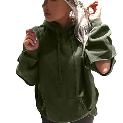 Grünen Armee Mann Kostüm (Xinan Damen locker Hoodie Sweatshirt Langarm Baumwolle Pullover Tops Shirt Mantel (L, Armee)