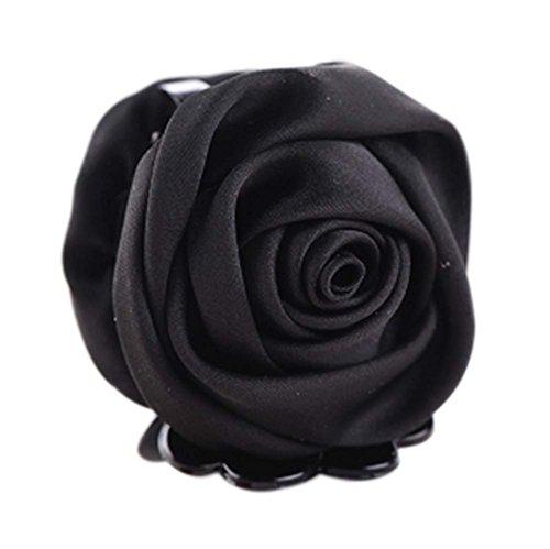 un Belles Clips Rose Fleur Cheveux Ponytail clip, noir