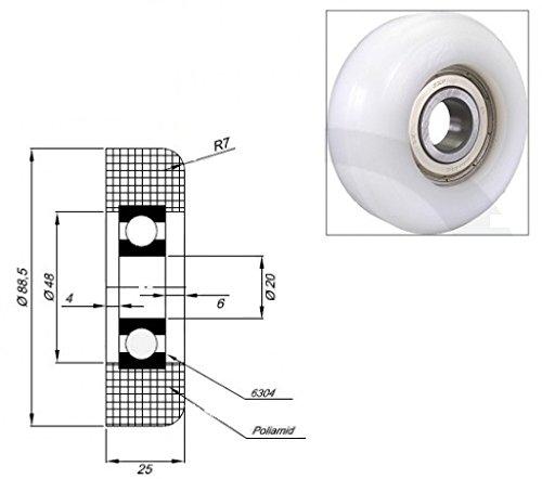 Zabi Kunststoffrollen nylon für Schiebetore mit Lagerung (Kugellager) d = 88,5 mm