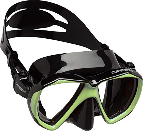 d92dee6398 Cressi Ranger Mask Máscara de Buceo, Adultos Unisex, Negro/Vert Fluo, Talla  única