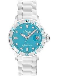 s.Oliver Damen-Armbanduhr Silikon weiß bunt Analog Quarz SO-2152-PQ