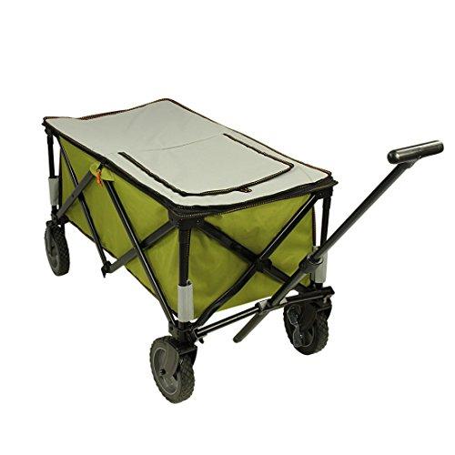 10T Cooler Trolley XL Bollerwagen mit Kühltasche / Kühlfach & Abdeckung bis 75 kg Strandwagen mit Bremse faltbarer Handwagen Kinderwagen Picknick Transporter inkl. Einlegeboden und Transport-Tasche