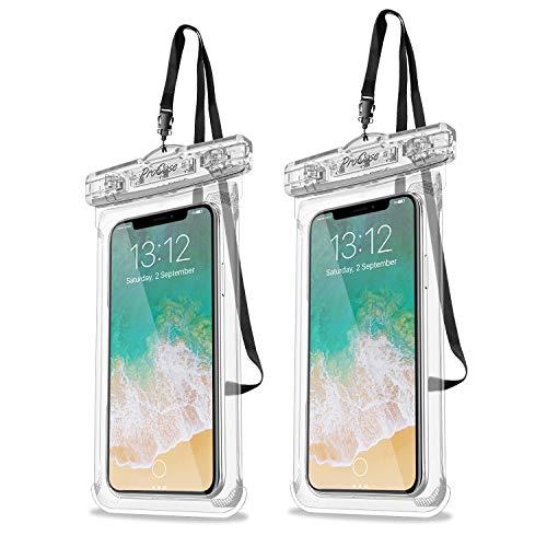 "ProCase 2 uds. Funda Estanca Móvil Universal, Bolsa Impermeable IPX8 para iPhone 11 Pro MAX/XS Max/XR/X/8/7, Galaxy Note10+/S10/S10e/S9+, Huawei Xiaomi Redmi Honor BQ hasta 6,8"" -Transparente"
