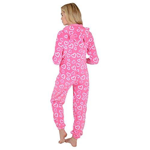 Damen Fleece Pyjama – Rosa Herzen Onesie - 6