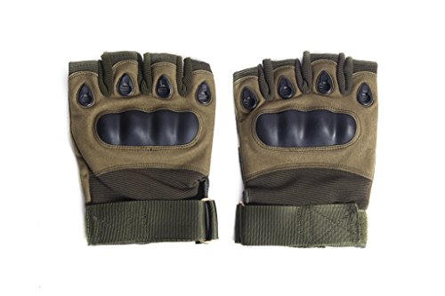 HIVER Half Finger Motorcycle Riding Racing Biking Driving Motorcycle Gloves - Medium Gloves (Green)
