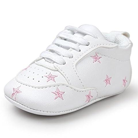 FNKDOR Baby Sternchen Schuhe Jungen Mädchen Weiß Lauflernschuhe Krabbelschuhe, 0-18 Monate (6-12 Monate,