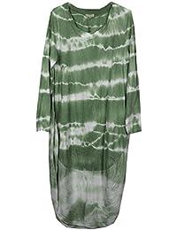 Neuer Frauen Damen Tie Tye Dye Krawatten-Lagenlook Quirky Italienisch Cocoon Langarm Tunika-Kleid