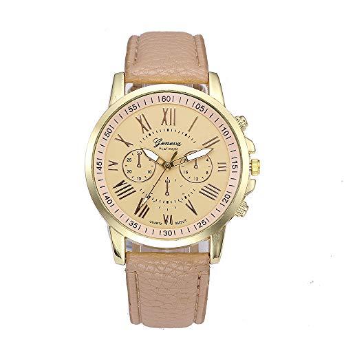 Lomsarsh Damen Quarz Uhren, römische Ziffern Kunstleder analoge Armbanduhr einstellbar Pin Schnalle weibliche Uhren Uhren für Frauen